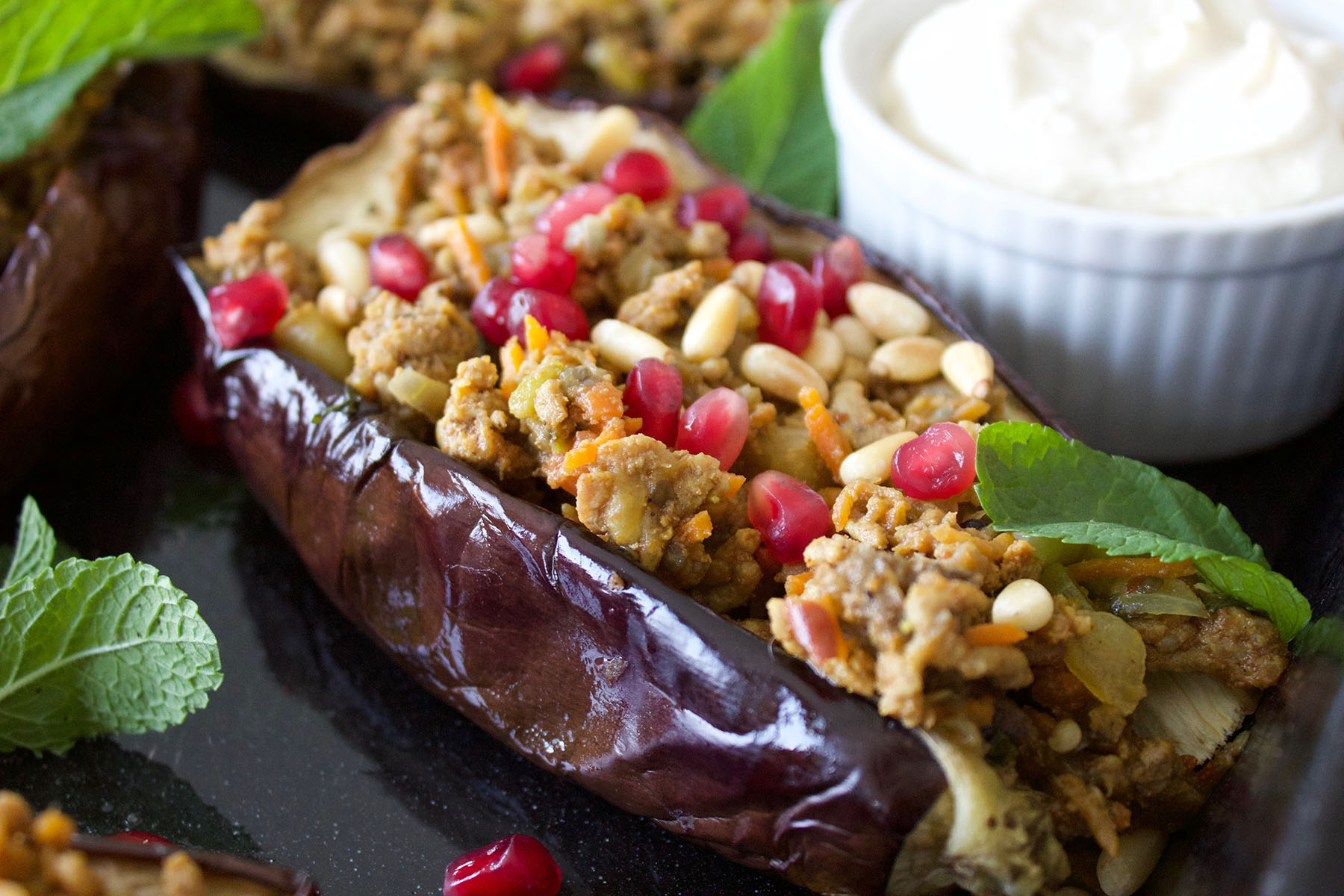 Moroccan style roasted aubergine