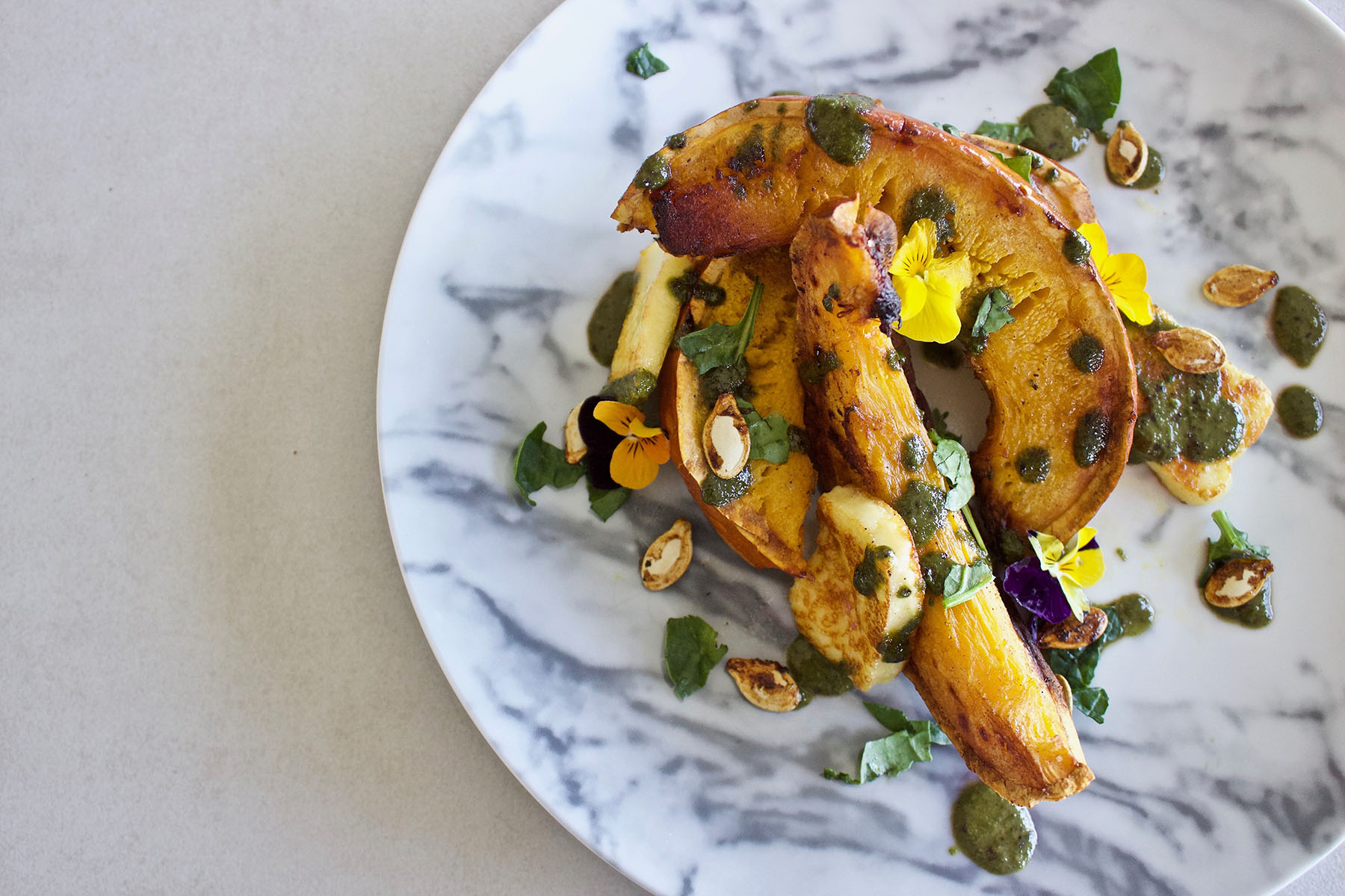 Roasted Pumpkin and Haloumi plus Delicious Dressing