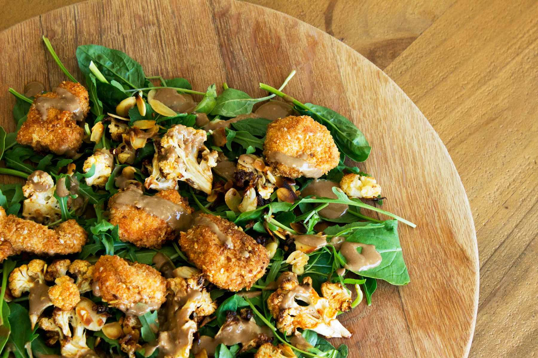 Healthy Girl Cauliflower and Crispy Chicken Salad